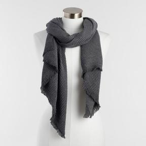 World Market Gray Soft Pleated Scarf
