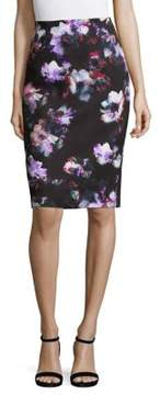 Ellen Tracy Petite Floral High-Waist Skirt