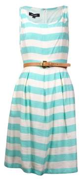 Nine West Women's Belted Striped Pleated A-Line Dress (6, Cool Breeze/Ivory)