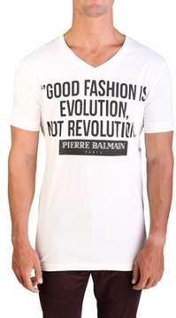 Pierre Balmain Men's Graphic Logo V-neck T-shirt Raw White.