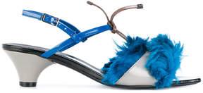 Marni Llama fur trim sandals