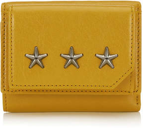 Jimmy Choo BEALE Mustard Biker Leather Small French Wallet with Gunmetal Stars