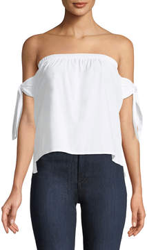 J.o.a. Off-The-Shoulder Tie-Sleeve Blouse