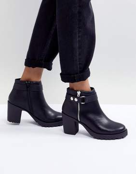 London Rebel Chunky Heel Metal Trim Boot