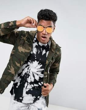 Pull&Bear Zip Through Hooded Jacket In Camo