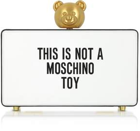 Moschino This is not a White Clutch w/Golden Teddy Bear