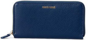 Roberto Cavalli Blue Leather Zip-Around Wallet