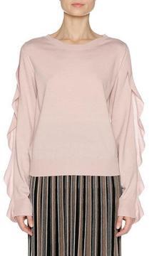 Agnona Ruffle-Sleeve Crewneck Sweater