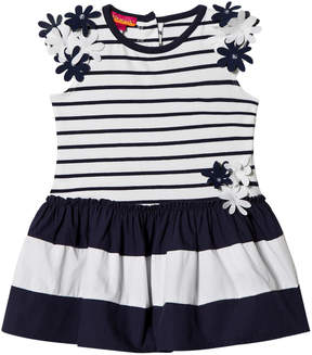 Kate Mack Biscotti Navy and White Stripe Flower Applique Infants Dress