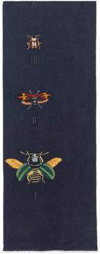 Silk cashmere scarf with embroidered insects