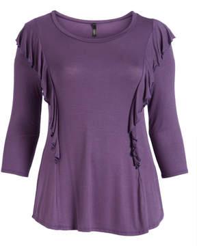 Celeste Lilac Ruffle-Accent Three-Quarter Sleeve Tunic - Plus