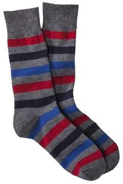 Merona Men's Dress Socks - Blue/Gray Red Rugby Stripes