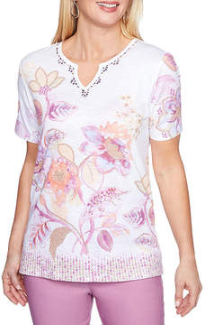Alfred Dunner Los Cabos Short Sleeve Split Crew Neck Floral T-Shirt-Womens
