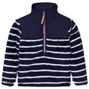 Joules Navy Stripe Fleece Sweatshirt