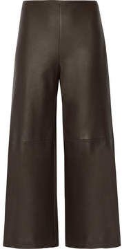 ADAM by Adam Lippes Leather Culottes - Dark brown