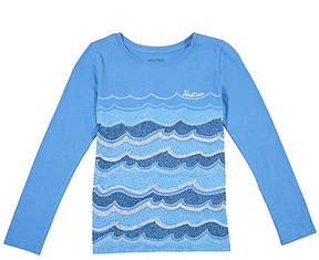 Nautica Girls' Waves Print Long Sleeve Tee (7-16)