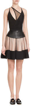 David Koma Flared Skirt with Leather and Tulle