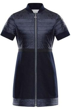 Moncler Short-Sleeve Abito Mixed Media Dress, Size 8-14