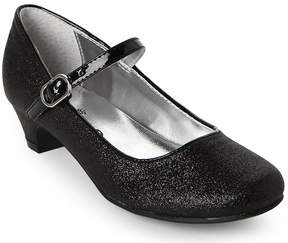 Nina Kids Girls) Black Seeley Glitter Low-Heel Mary Jane Shoes