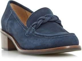 Dune London GRATEFUL - NAVY Plaited Saddle Block Heel Loafer