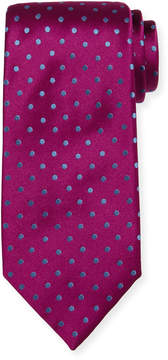 Charvet Off-Center Dotted Satin Tie