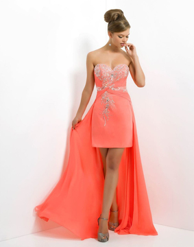 Blush Lingerie X137 Fitted Crystal Beaded Sweetheart High-Low Dress