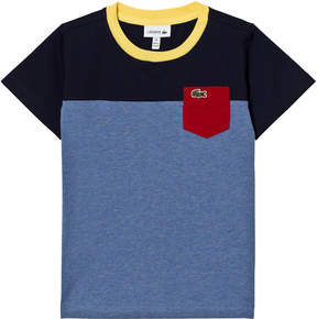 Lacoste Blue and Navy Colour Block Pocket T-Shirt