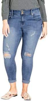 City Chic Plus Ripped Up Jeans