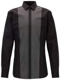 HUGO Boss Metallic Print Easy Iron Dress Shirt, Extra-Slim Fit Easto 15 Black