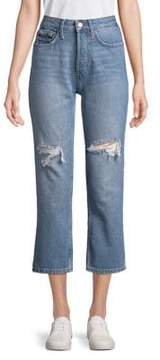 Calvin Klein Jeans Distressed Straight Cropped Jeans