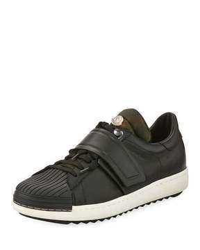 Moncler Arnoux Leather Grip-Strap Sneaker, Charcoal
