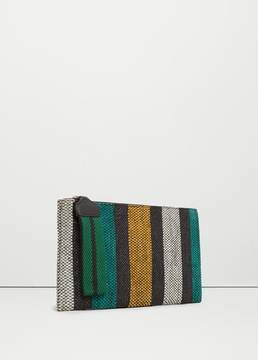 Mango Outlet Leather stripes clutch