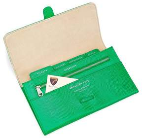 Aspinal of London | Classic Travel Wallet In Grass Green Lizard Cream Suede | Grass green lizard cream suede