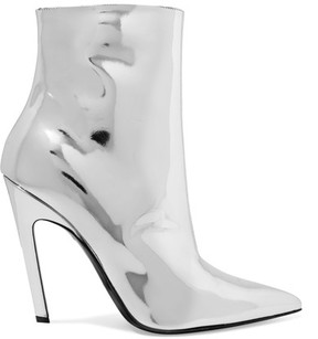 Balenciaga Mirrored-leather Ankle Boots - Silver