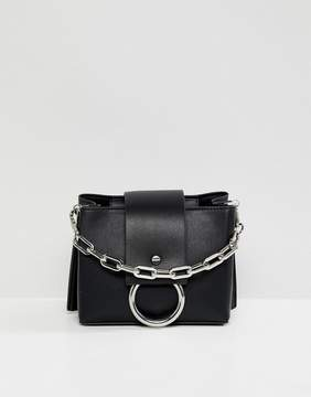 Aldo Ibilasien black structured cross body bag with metal ring detail
