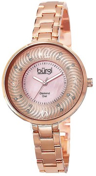 Burgi Rose Gold-Tone Brass Pink Mother of Pearl Diamond Dial Ladies Watch