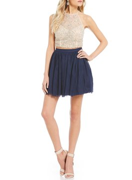 B. Darlin Crystal Beaded Top with Mesh Skirt Two Piece Dress
