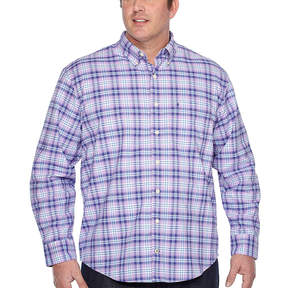 Izod Long Sleeve Oxford Stripe Woven Long Sleeve Plaid Button-Front Shirt-Big and Tall