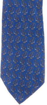 Salvatore Ferragamo Sailboat Print Silk Tie