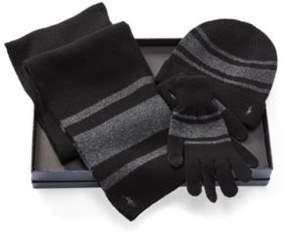 Ralph Lauren Striped Hat, Scarf & Glove Set Black/Charcoal One Size