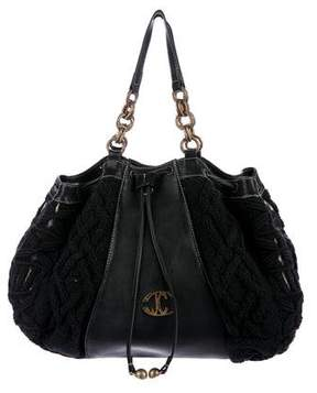 Just Cavalli Cable Knit & Leather Tote