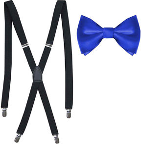 Jf J.Ferrar Solid Bow Tie & Suspenders Set