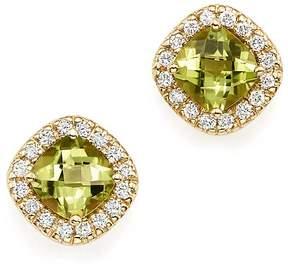 Bloomingdale's Peridot Cushion Cut and Diamond Stud Earrings in 14K Yellow Gold - 100% Exclusive