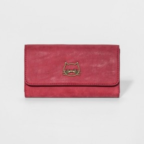 Mossimo Women's Faux Leather Wallet with Cat Icon Wine