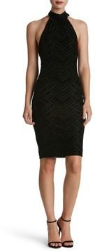 Dress the Population Women's Avery Geometric Burnout Velvet Halter Dress
