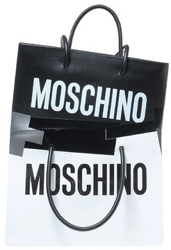Moschino Double Tape Leather Shopper - White
