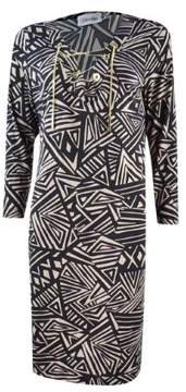 Calvin Klein Women's Chain-Lace V-Neck Jersey Dress (10, Black/Khaki)