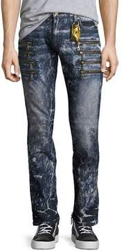 Robin's Jeans Marbled Zipper Moto Skinny Jeans, Dirty Blue