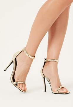 Missguided Gold Rounded Strap Barely There Sandals