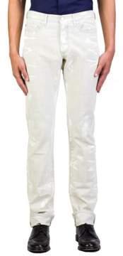 Christian Dior Men's Slim Fit Paint Splattered Denim Jeans Pants Light Blue